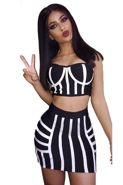 Striped Splicing Backless Crop Top with Short Skirt Two Pieces Dress Set