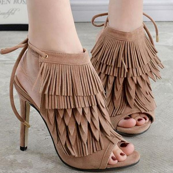 Stiletto Heel Peep-toe Lace Up Ankle Strap Suede Sandals