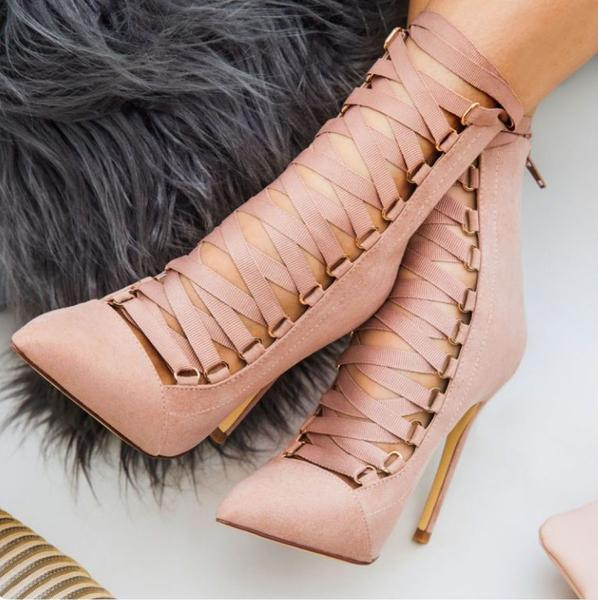 Suede Pointed-Toe Lace-Up Stiletto High Heels with Back Zipper