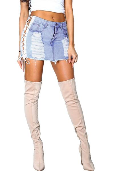 Lace Up Hole Bodycon Slim Short Skirt