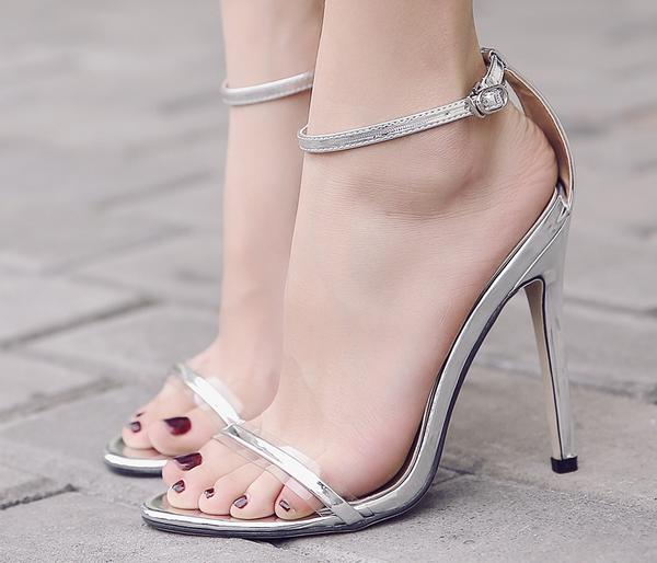 Open-Toe Transparent Thin Ankle Strap Stilettos, High Heels
