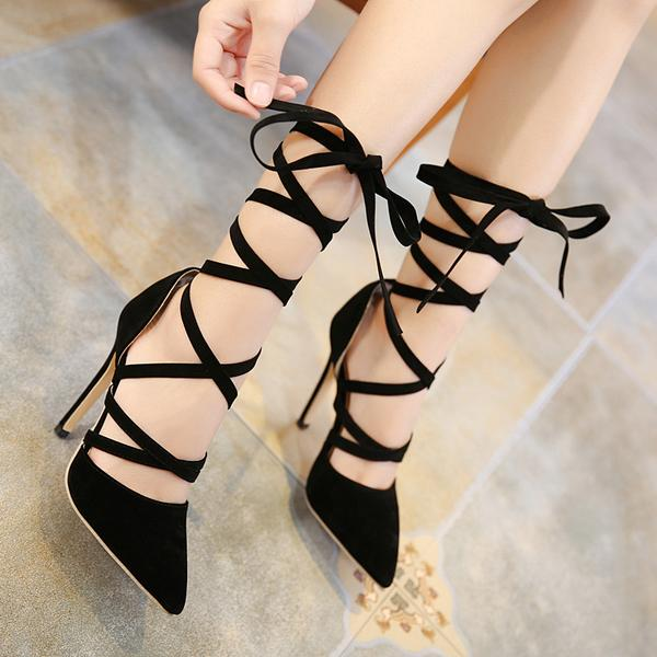 f40ea14dffc Faux Suede Lace-Up Pointed-Toe High Heel Stilettos on Luulla
