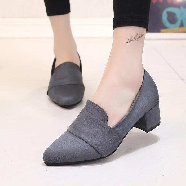 Pointed Toe Low Cut Solid Color Chunky Low Heels Pumps