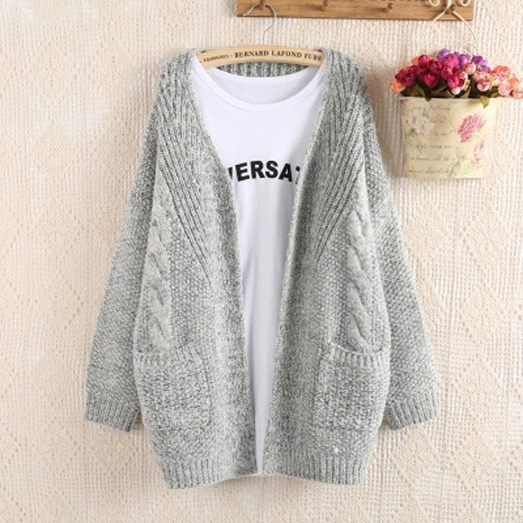 Pure Color Long Sleeves Pockets Loose Open Cardigan
