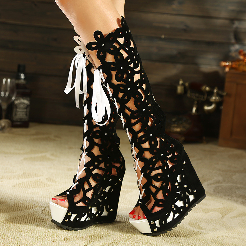 ed85441ffe1 Cut Out Lace Up Peep Toe Platform Long Boot Wedge Sandals on Luulla