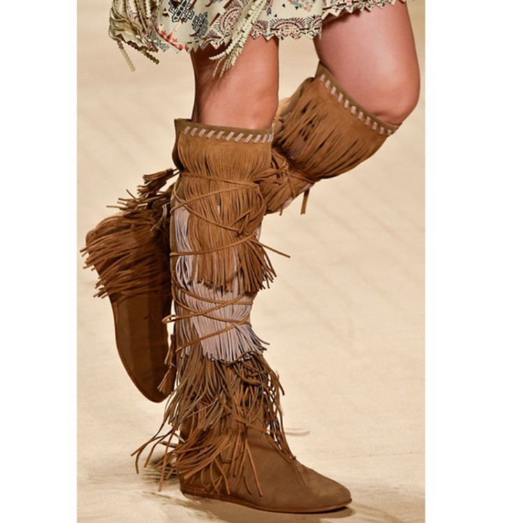 Tassels Straps Cross Pointed Toe Knee-length Long Boots
