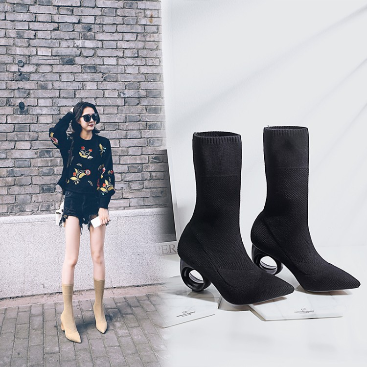 Pointed Toe Circle Unique Heels Half Length Boots