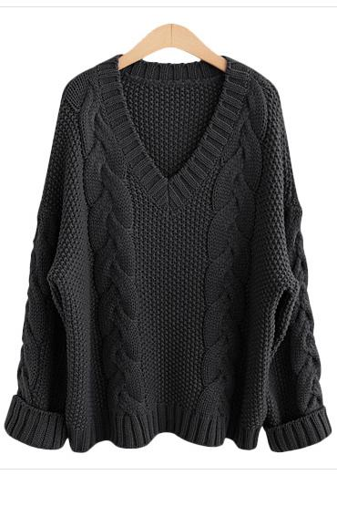 Cable Knitted Plunge V Long Folded Sleeves Sweater