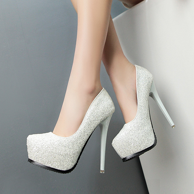 10c769693db3b7 Shinning Sequins Round Toe Platform Stiletto High Heels Party Shoes ...