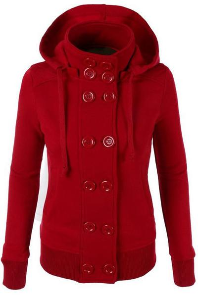 Double Breasted Solid Color High Neck Slim Hoodie Coat