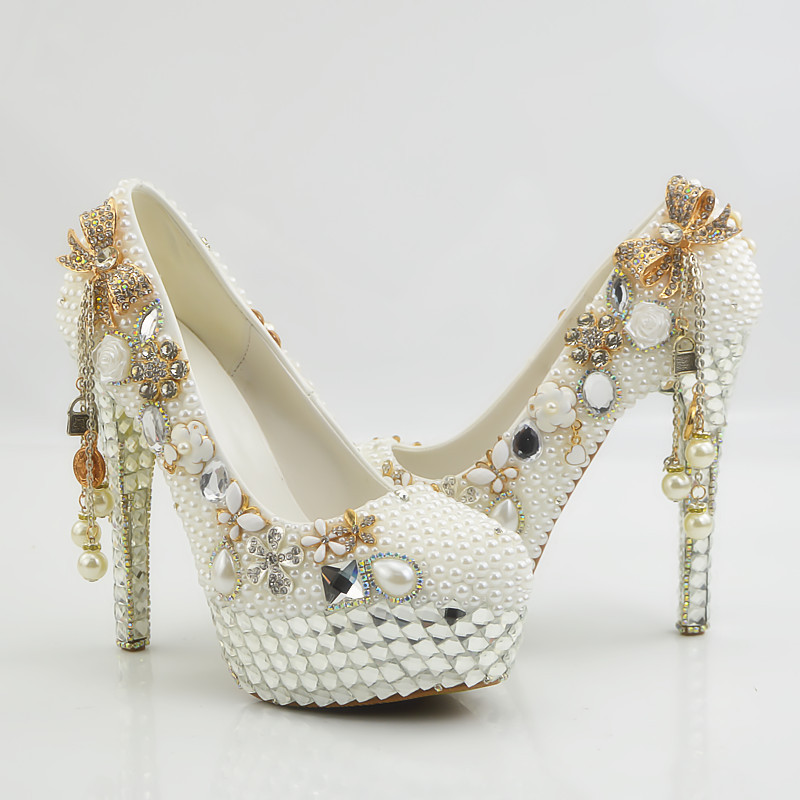 Crystal Beadings Bowknot Decoration Platform Super High Stiletto Heels Bridal Wedding Shoes