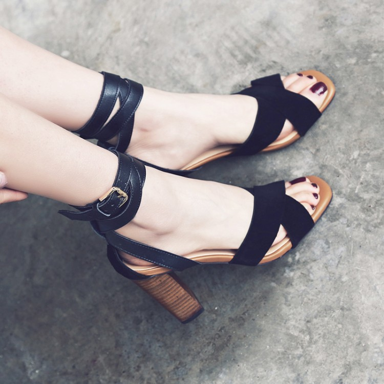 Square-Toe Cross Ankle-Strap Chunky Heels, High Heels