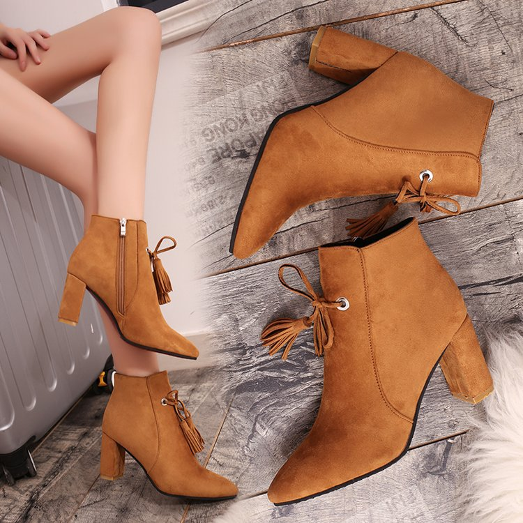 Pointed Toe Chunky High Heel Suede Boots with Tassels and Side Zipper