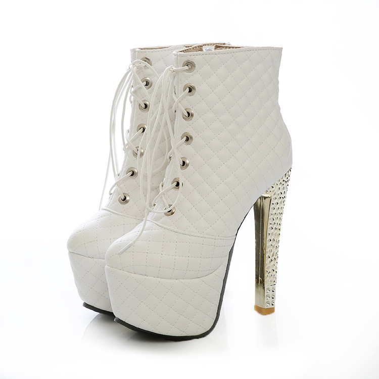 af952020753 White/ Black / Metallic Diamond Quilted Lace Up High Heel Leather Ankle  Boots
