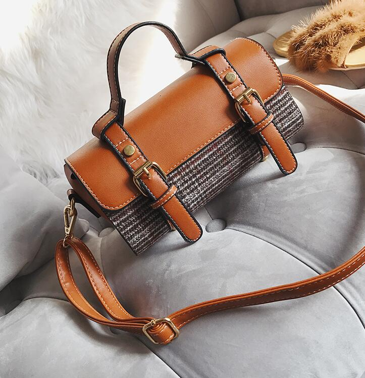 Vintage Belt-Decorated Plaid Women Satchel