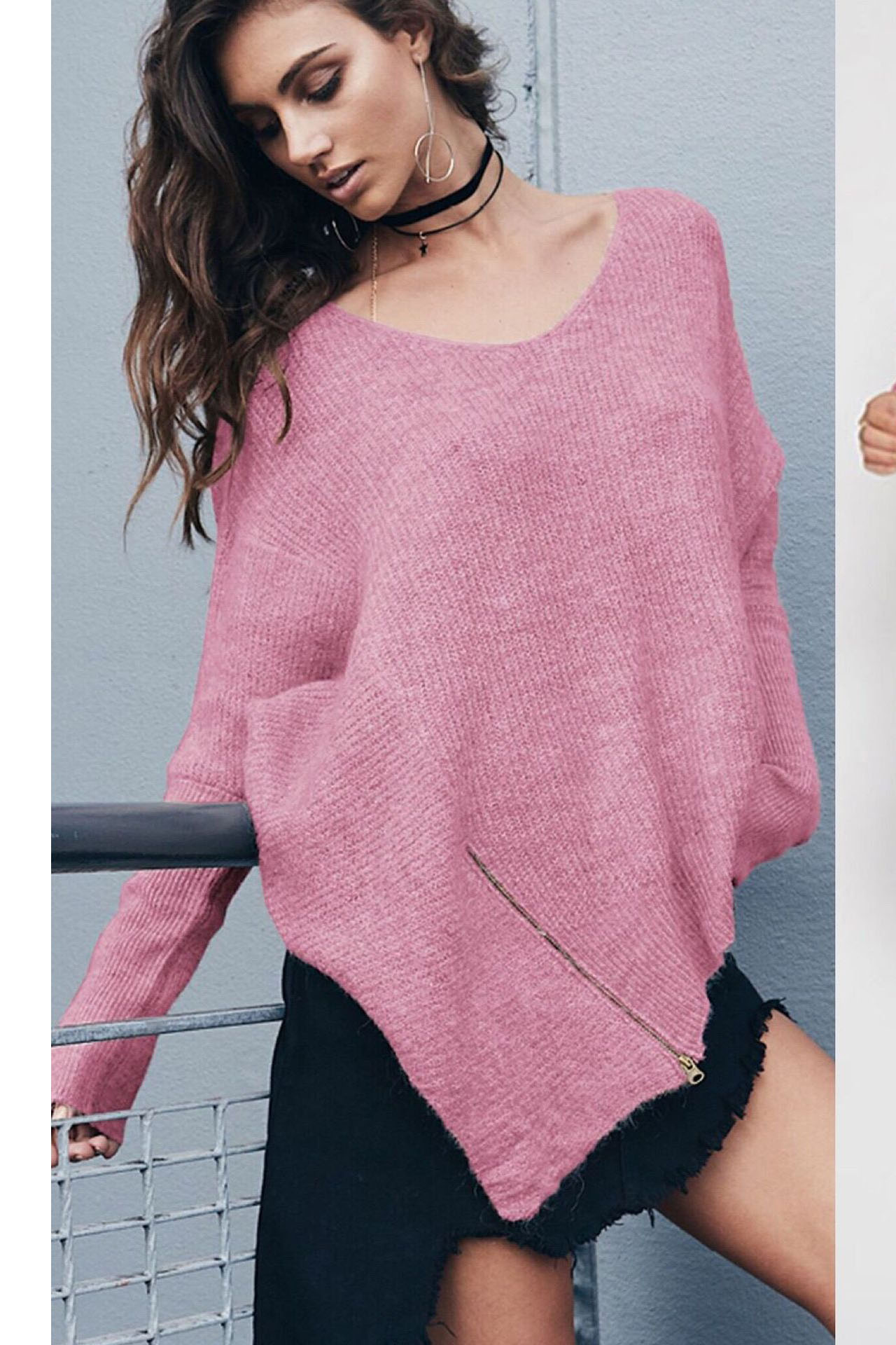 V-neck Zipper Loose Irregular Pur Color Sweater on Luulla 037608a49
