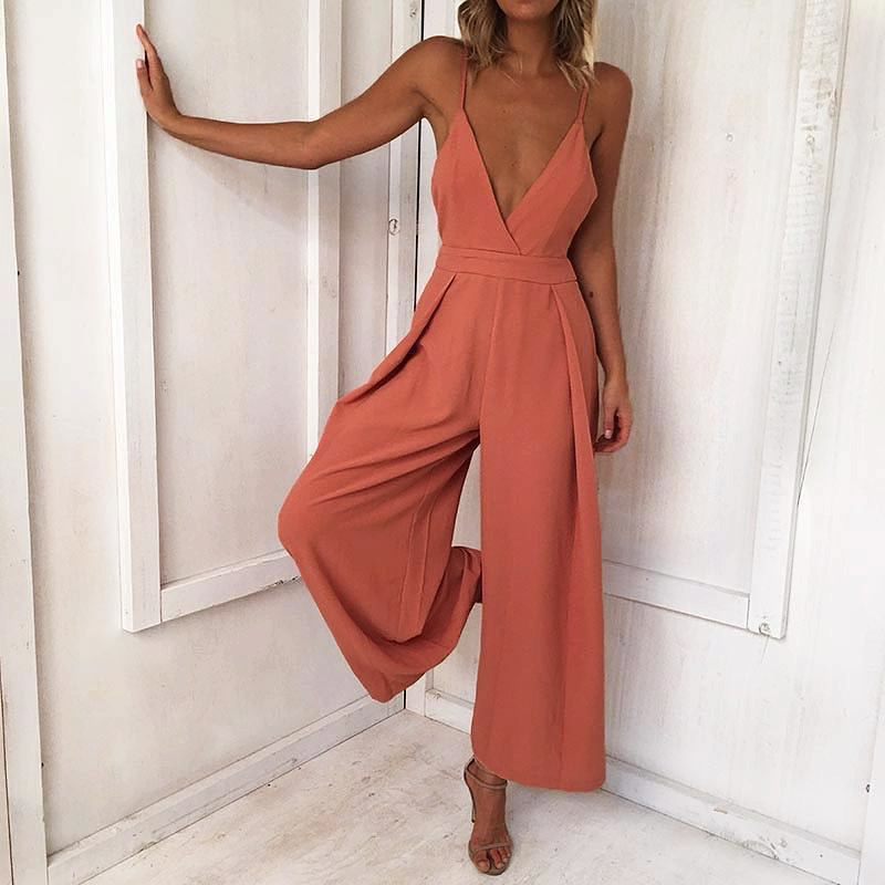 Deep V-neck Spaghetti Straps Backless Bowknot High Waist Long Wide-leg Jumpsuits