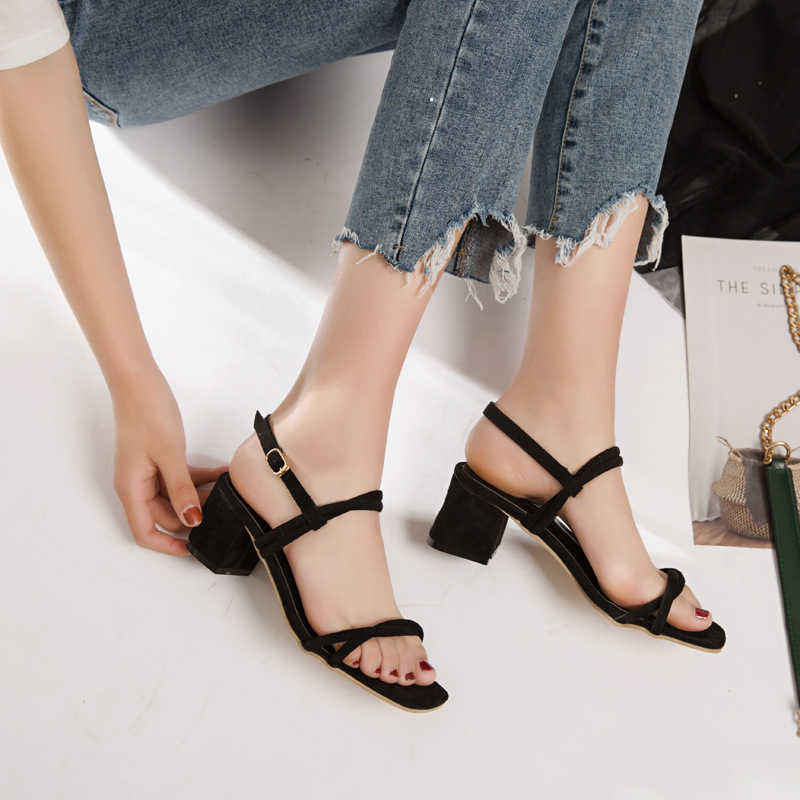 Simple Style Chunky Heels Square Open Toe Sandals