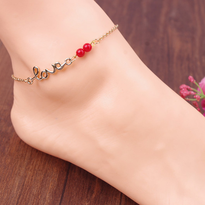 Letter LOVE Transshipment Red Beads Anklets