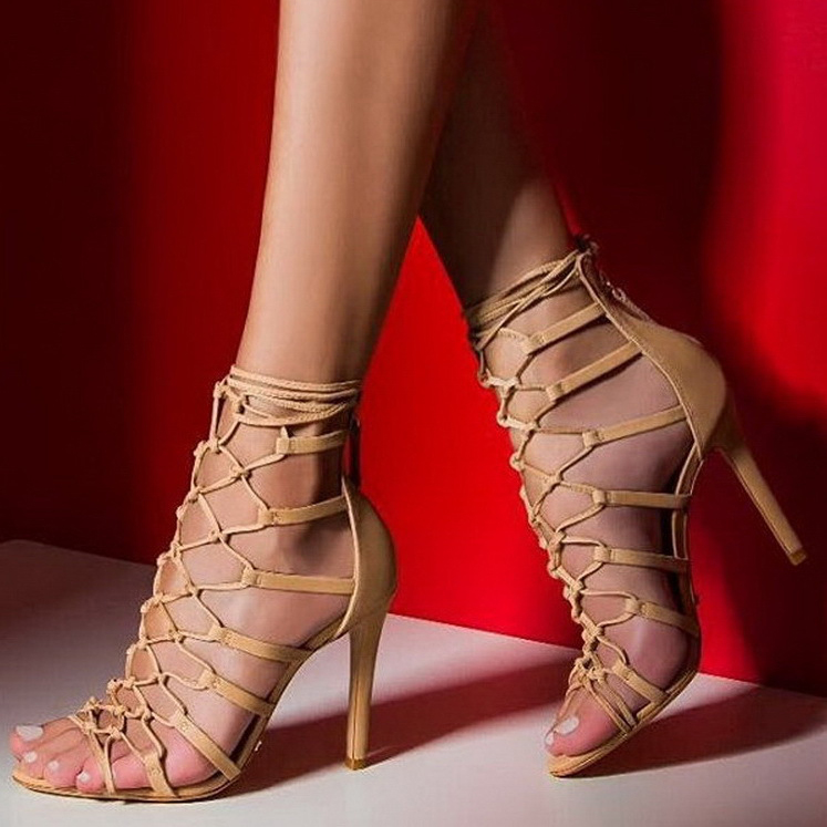 Stiletto Heel Straps Ankle Wrap Peep-toe High Heel Sandals