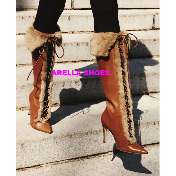 Faux Fur Pointed Toe Lace UP Stiletto High Heel Knee-length Boots