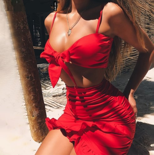 Bowknot Spaghetti Straps Crop Top with High Waist Irregular Skirt Two Pieces Dress Set