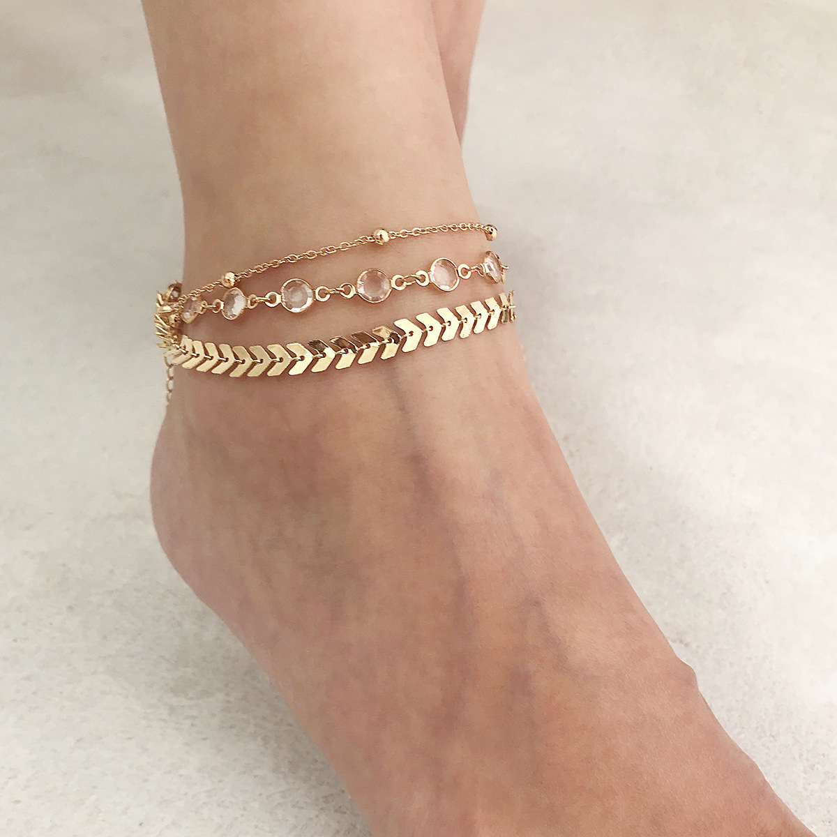 Stylish Simple Multi-layered Crystal Anklets