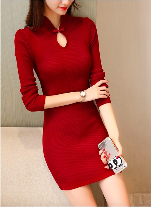 Sexy long bright silk Pullover Sweater Bodycon Dress(Q2020460)