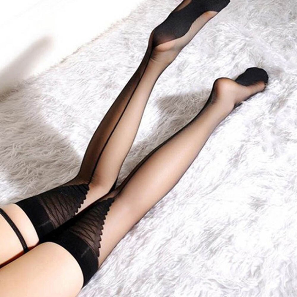 Women Sexy Thigh High Stockings Ladies Sexy Top Sheer Stay Up Triangle Black Line Back Tattoo Stockings Pantyhose Sexy Lingerie