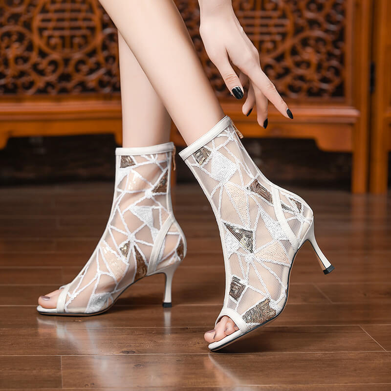 Summer Sequin Mesh Peep Toe Low Heel Ankle Boots