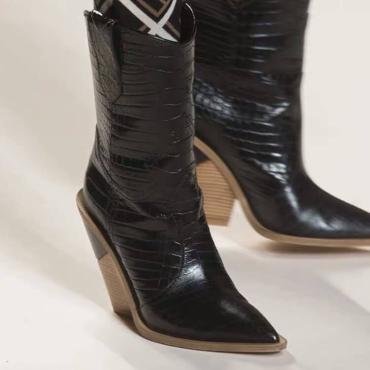 Leather Point Toe Chunky Heel Calf Boots