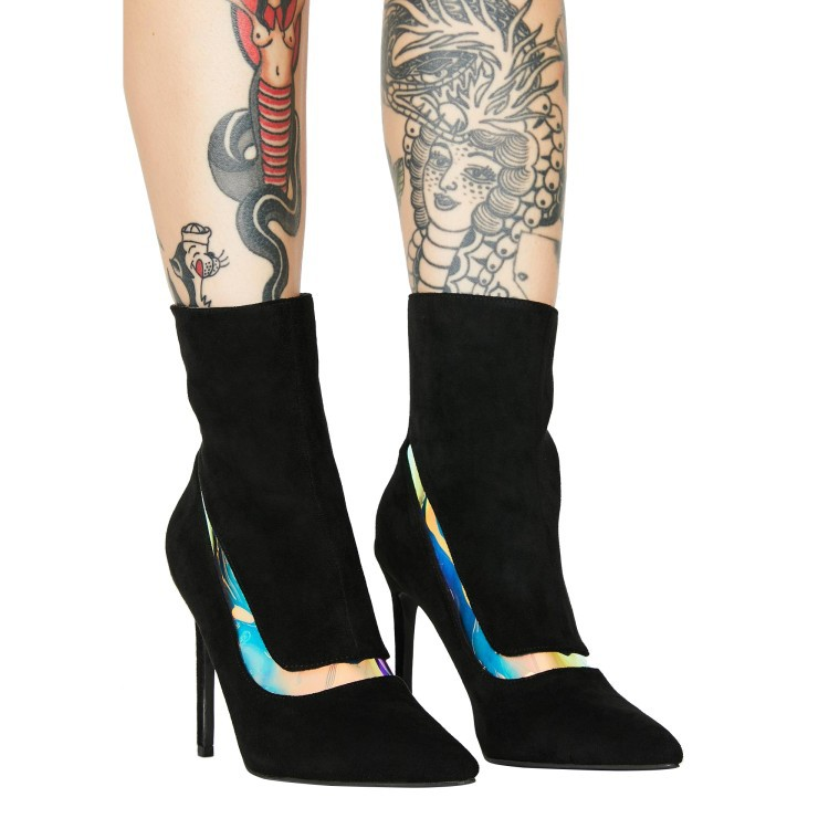 Black Suede Point Toe High Heel Stretch Boots