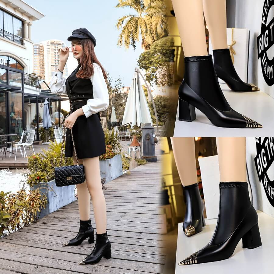 Winter Inside Suede Black PU Point Toe High Chunky Heel Calf Boots