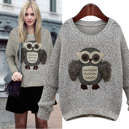 Stereo Owl O-Neck Long Sleeve Loose Sweater