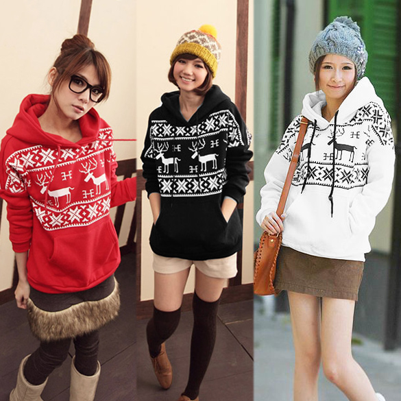 Women Cute Deer Print Hoodie Jacket Coat Sweatshirt Top