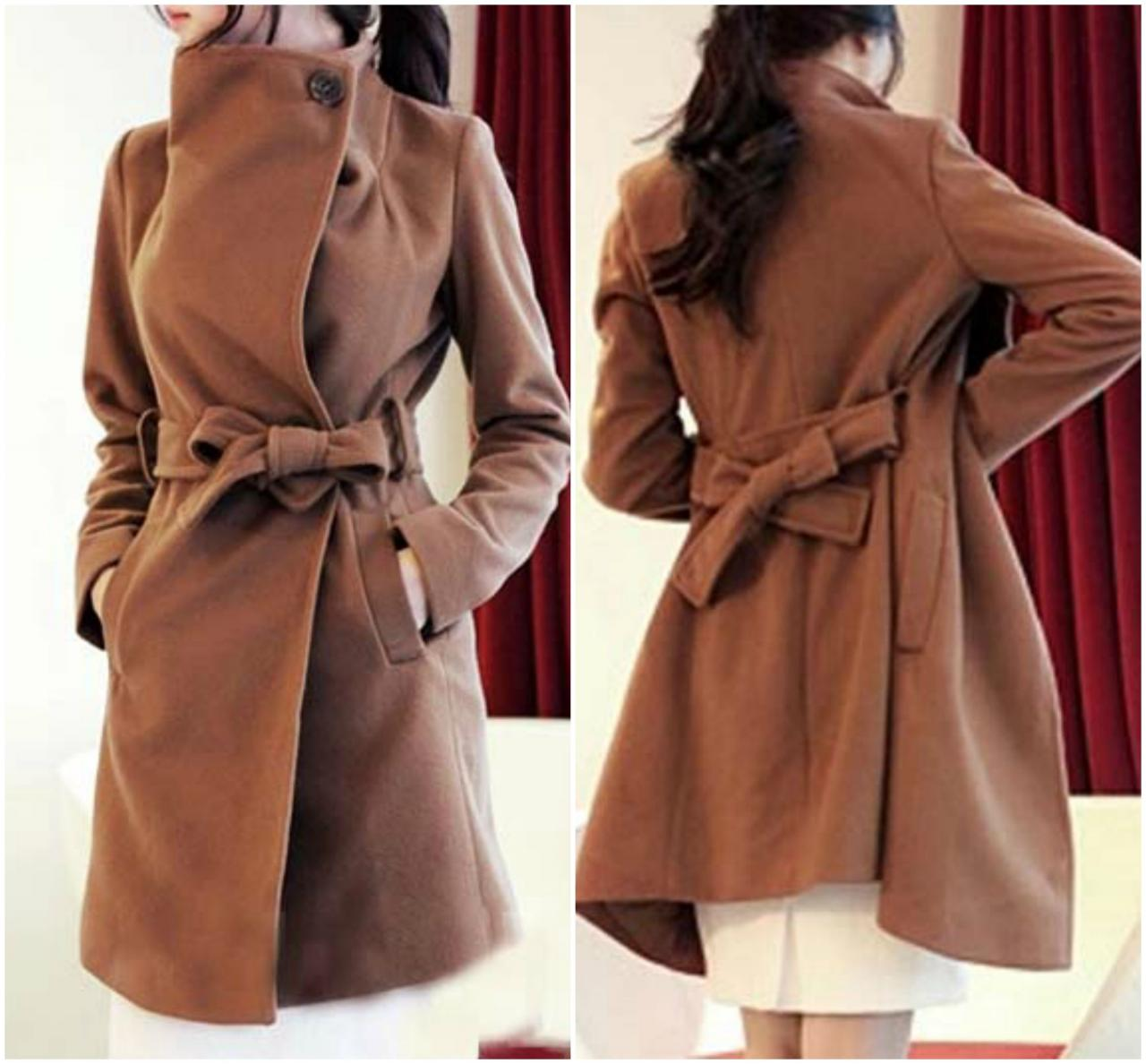 Chic Turn Down Collar Light Tan Winter Long Trench Coat with Belt
