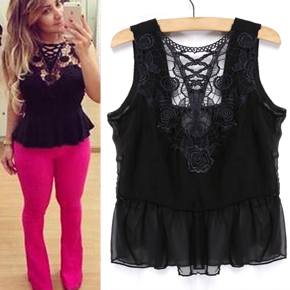 New Women Euramerican Style Sleeveless Lace Sexy Slim T-Shirt