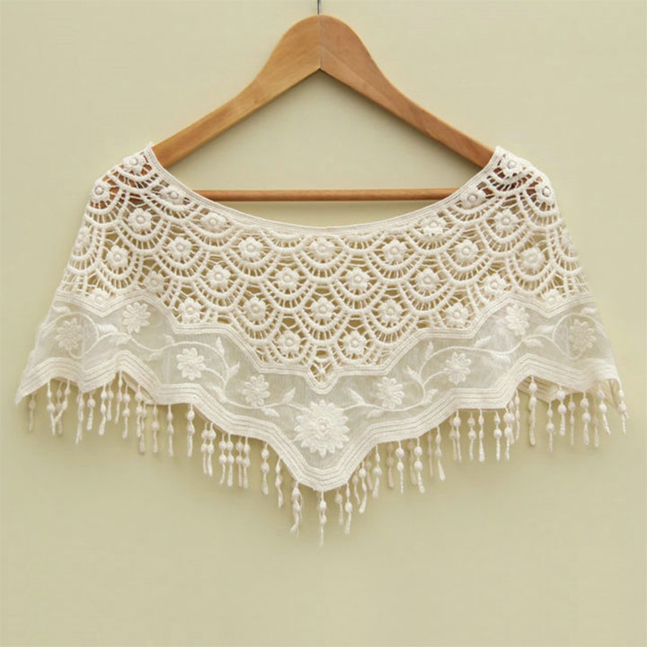 Sexy Women Mesh Hollow Crochet Lace Knit Shawl Cape Shawl Tank Top Vest