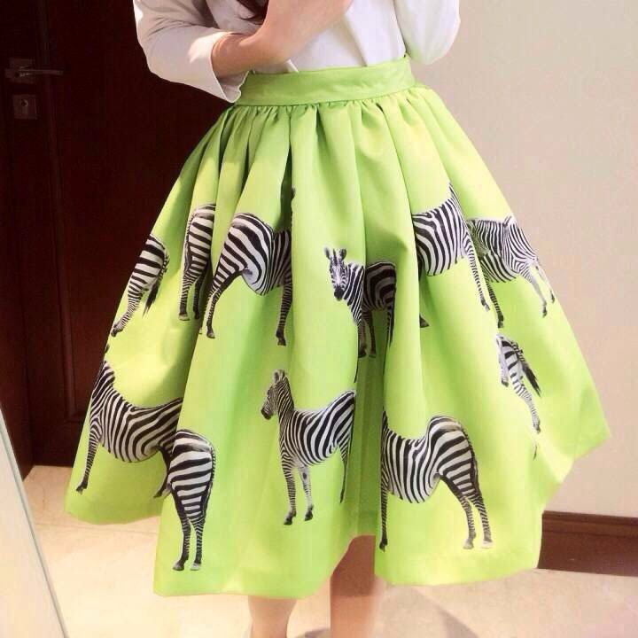 7db3be3174 Green Zebra Printed Flared And Pleated Short Skirt on Luulla