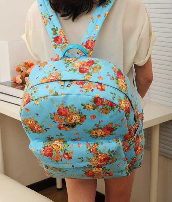 Canvas Flower Rucksack School Backpack Bag