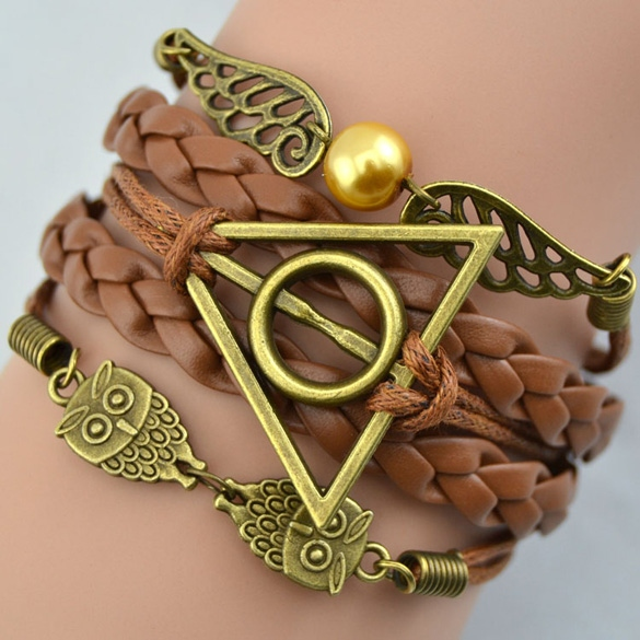 Synthetic Leather Bracelet Snitch Angel Wings Owl