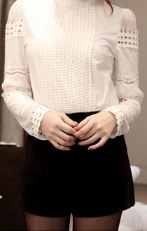 High Neck Lace Hollow Out Long Sleeves Pure Color Blouse