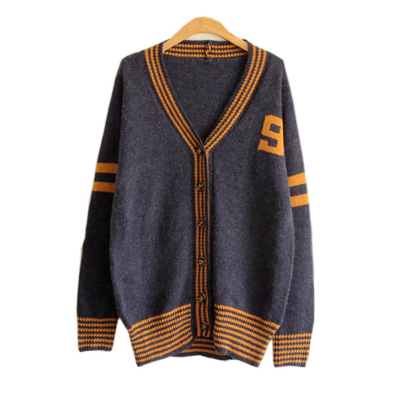 Korean Style Knit Cardigan V-neck Number Print Sweater on Luulla 640748d51