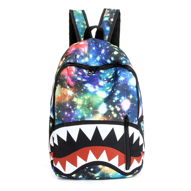 Starry Sky Shark Print Chic Travel Backpack Bag