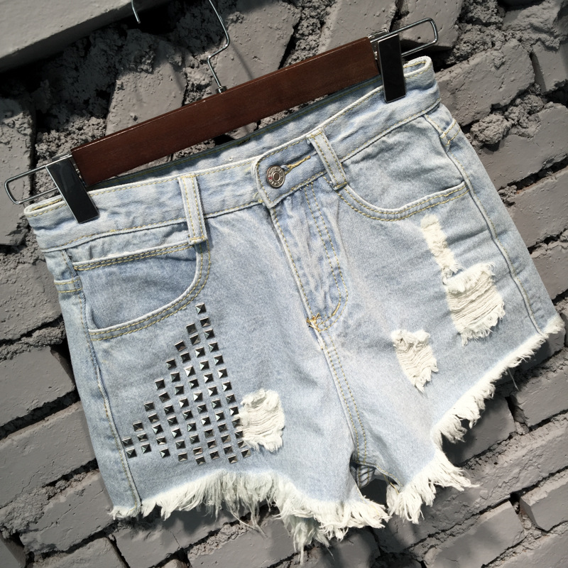 Low Waist Rough Edges Rivet Hole Ripped Frayed Denim Shorts