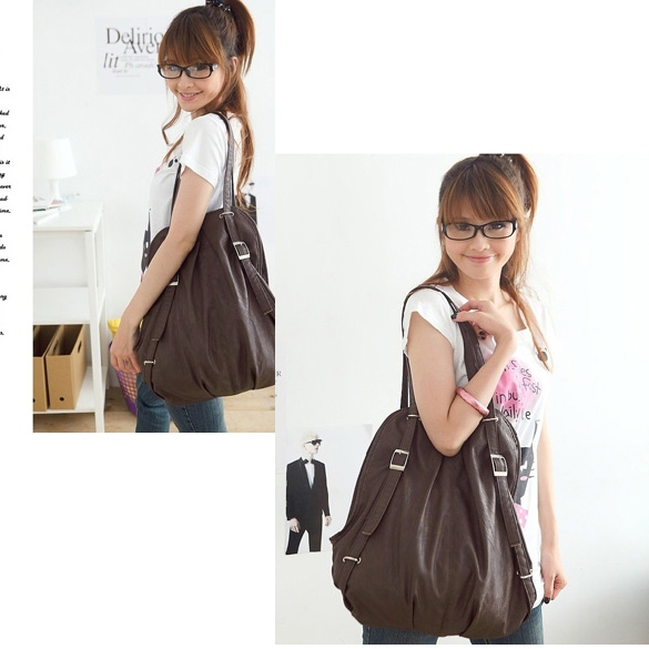 0e42daa9d4 New Korean Style Fashion lady 2 Ways PU Leather Backpack Purse Handbag  Shoulders Bag