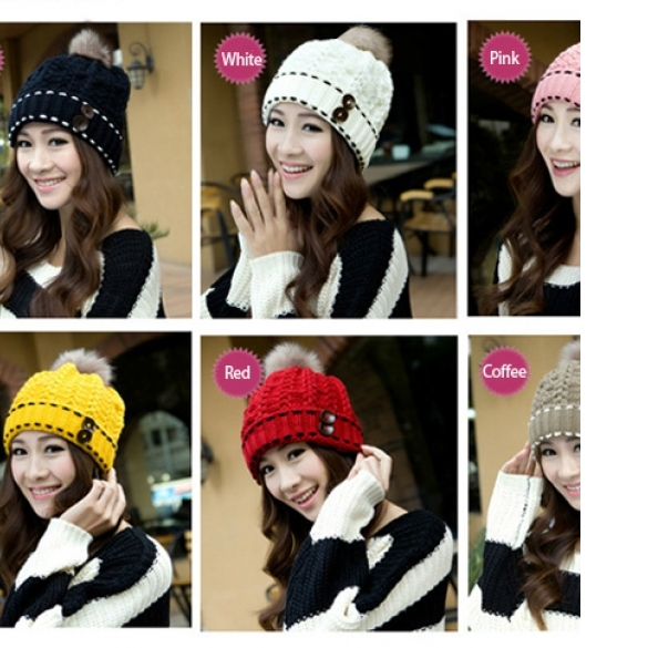 Women's Winter Warm Hats Braided Crochet Hats Ski Beanie Caps Earmuff Knitting Cap