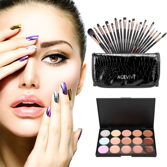 ACEVIVI 15 Colors Makeup Face Cream Concealer Palette + 20 PCS Powder Brushes + Carrying Bag