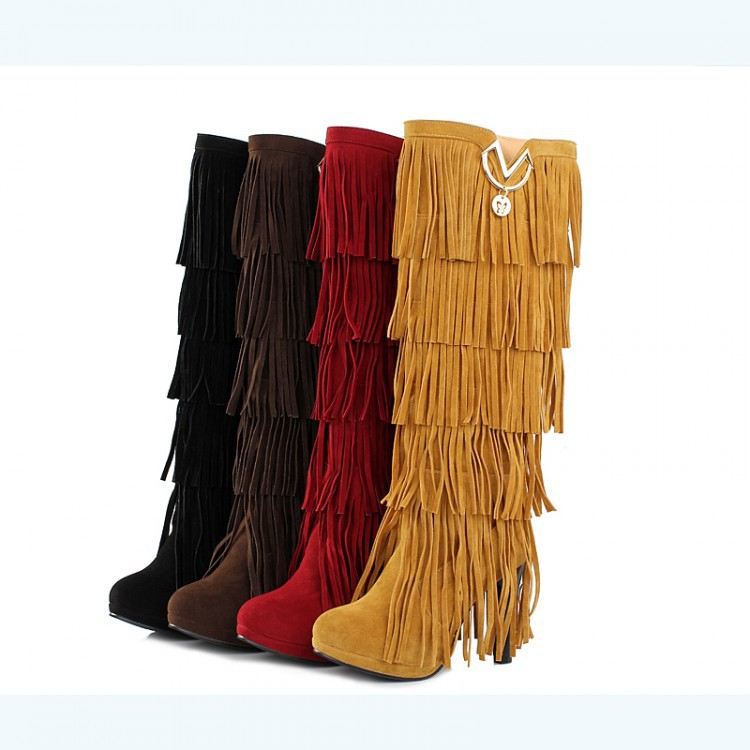 High Quality Multi-Layered Tassels High Heels High Boots