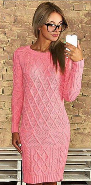 Solid Scoop Long Sleeve Knit Pullover Long Sweater